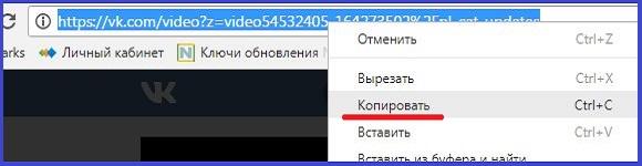 """пункт """"копировать"""" ссылку на видео в ВКонтакте когда тормозит видео"""