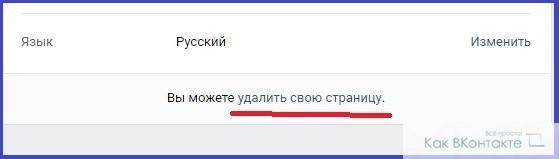 "Настройки ВКонтакте, пункт ""Удалить свою страницу"""