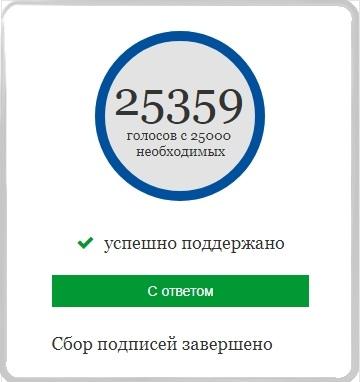 петиция собрала 25 тыс. голосов