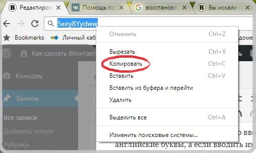 Ввод и копирование пароля Вконтакте из строки браузера.