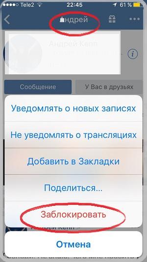 Заблокировать человека в ВК (ЧС) с телефона