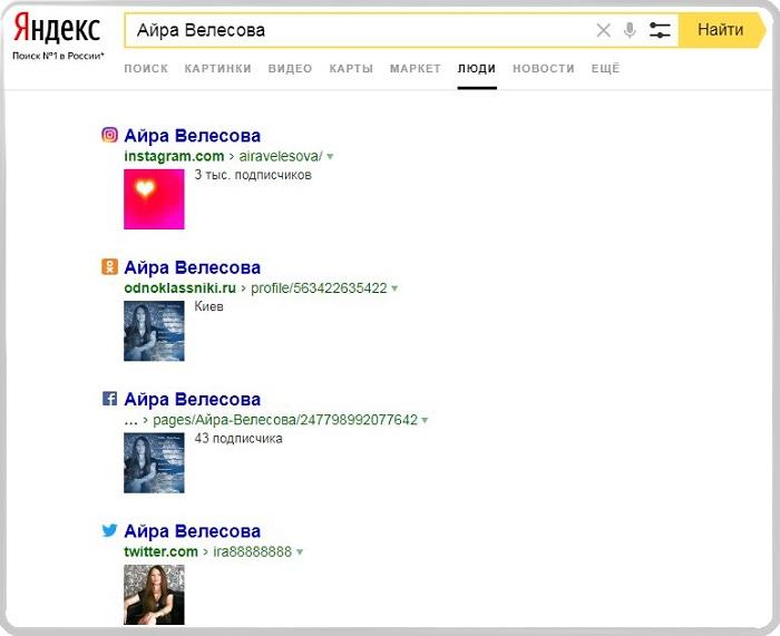 Сервис Яндекс.Люди узнать номер страницы человека в ВК.
